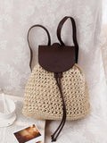 Hollow Straw Plaited Article Bohemia Backpack CREAMY FREE SIZE