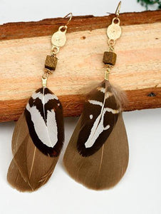 Bohemia Coffee Feather Earrings COFFEE