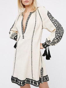 Ethnic-style Embroidery Tassels V-neck Mini Dress GRAY XL
