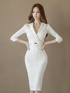 Sexy White Lapel Neck Long Sleeve Belted Slim Fit Tea Length Dress L