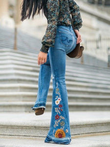 Embroidered Jean Bell-bottoms BLUE S