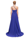 Beaded One-shoulder Slim Fit Evening Dress SKY BLUE 3XL