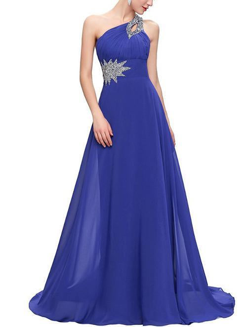 Beaded One-shoulder Slim Fit Evening Dress ROYAL BLUE 3XL
