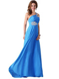 Beaded One-shoulder Slim Fit Evening Dress SKY BLUE S