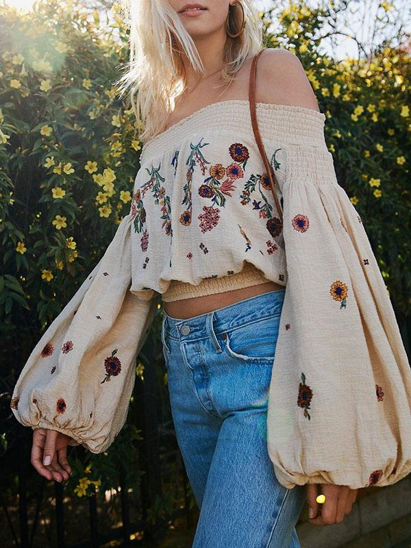 Embroidered Puff-sleeves Blouses\u0026Shirts Top S