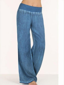 Fashion Solid Color Big Hem Wide Leg Bottom Casual Pants BLUE M