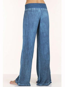 Fashion Solid Color Big Hem Wide Leg Bottom Casual Pants BLUE 2XL