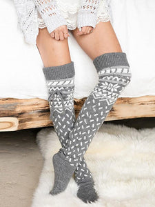 Bohemia 2 Colors Tassels Stocking GRAY
