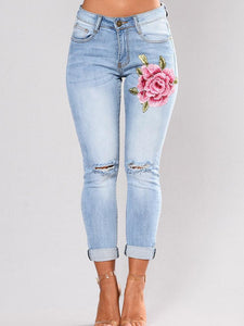 Elastic Embroidered Ripped Pencil Jean Pants Bottoms LIGHT BLUE S