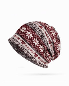 Bohemia Snowflake Hat Accessories WINE RED
