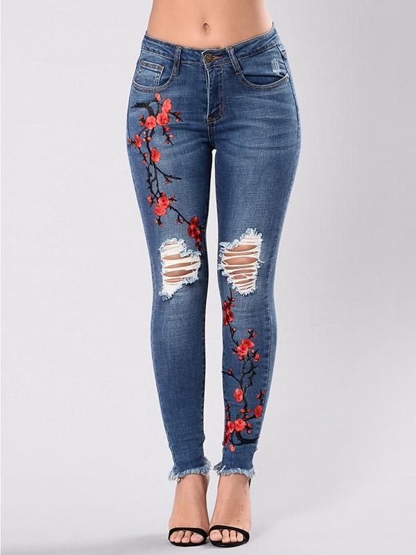 Pretty Embroidered Ripped Stretch Jean Pants Bottoms DEEP BLUE S