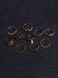 10pcs Vintage Crown Rings Accessories GOLD