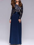 Lace Waisted Evening Dress DEEP-BLUE S