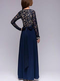 Lace Waisted Evening Dress DEEP-BLUE M