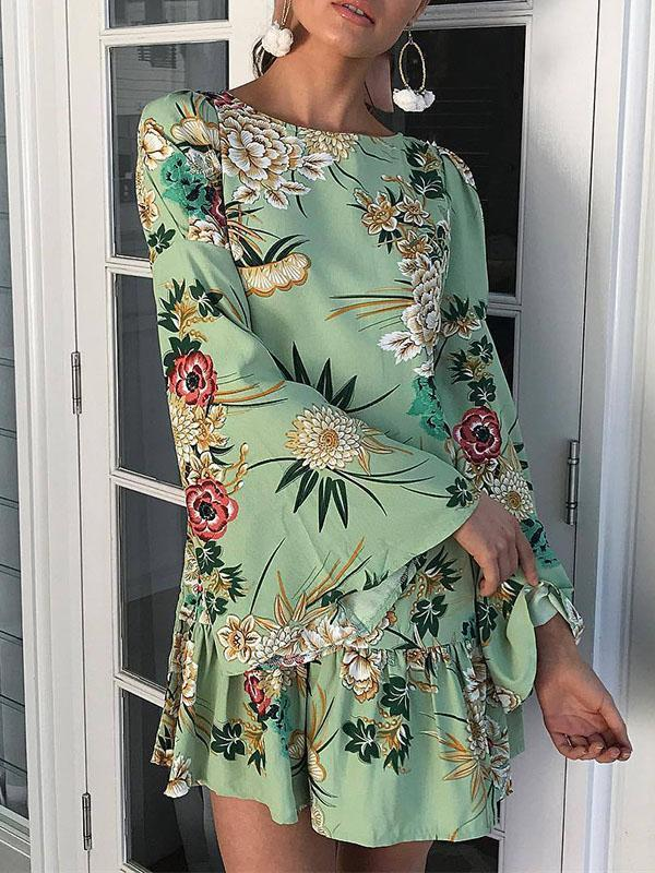 Floral Flared Sleeves Mini Dress GREEN S