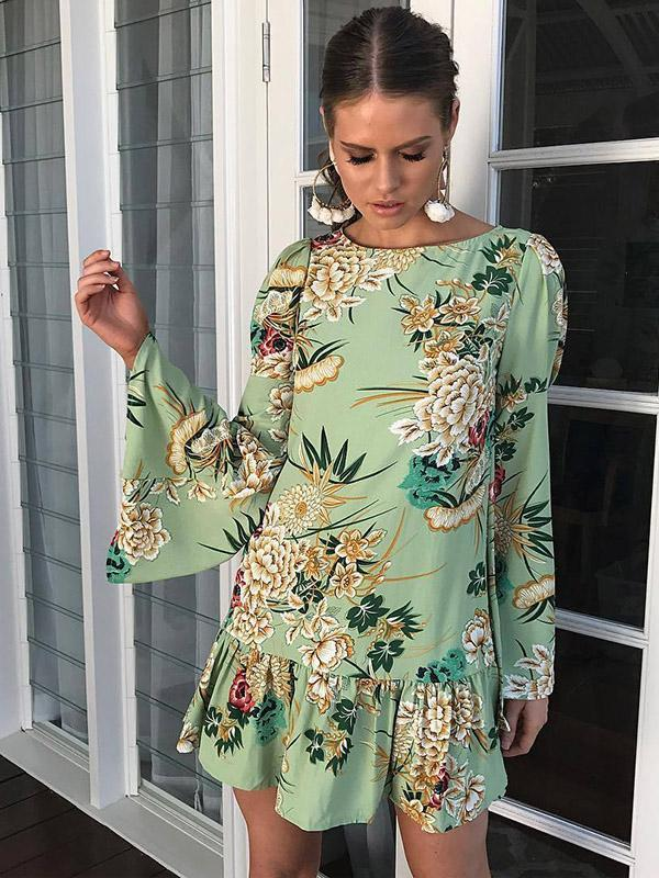 Floral Flared Sleeves Mini Dress GREEN XL