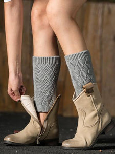 Fahion Rhombus Knitting Leg\u0026Ankle Warmers LIGHT GRAY