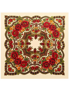 Bohemia Floral Real Silk Cape Scarf RED