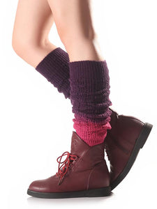 Bohemia 8 Colors Knitting Over Knee-high Stocking DEEP PURPLE