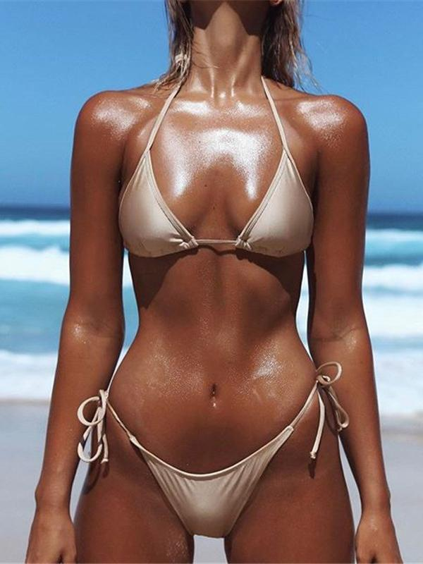 Spaghetti-neck Bandage Two-Pieces Bikini Swimwear CREAMY L