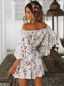Bohemia Printed Flared Sleeves Off-the-shoulder Mini Dresses L
