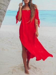Off Shoulder Split-side Solid Beach Maxi Dresses RED S
