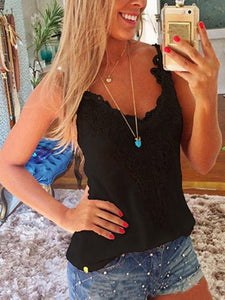2019 Fashion Lace Tank Top Summer Spring Shirt WHITE S