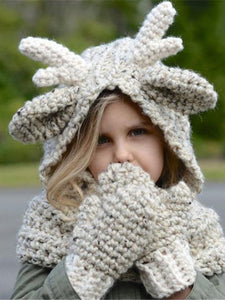 Luluslike Knitted Elk Single Button Hat\u0026Glove Accessories