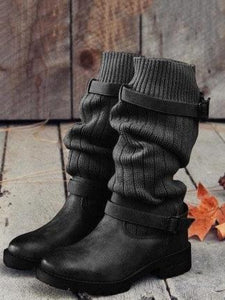 Fashion Knitting Mid Calf Boots BROWN 40
