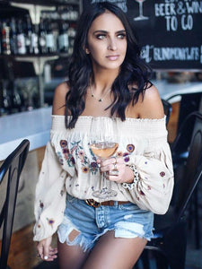 Embroidered Puff-sleeves Blouses\u0026Shirts Top M