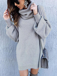 High-neck Solid Color Long Sleeves Knitting Sweater Tops LIGHT GRAY S