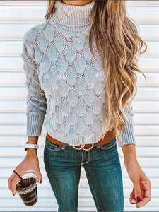 Solid Color High Collar Sweater Tops GRAY M