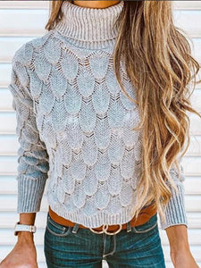 Solid Color High Collar Sweater Tops GRAY S