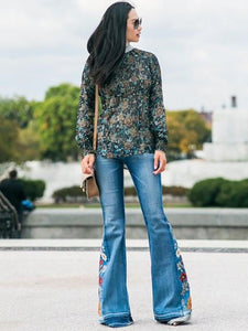 Embroidered Jean Bell-bottoms BLUE M