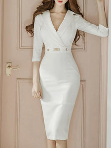 Sexy White Lapel Neck Long Sleeve Belted Slim Fit Tea Length Dress S