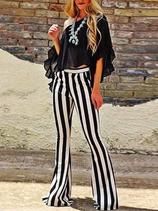 Striped Bell-bottom Casual Pants SAME AS PICTURES S