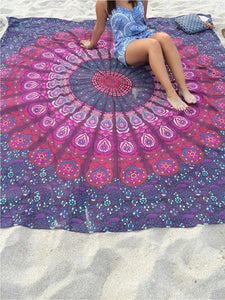 Beautiful Summer Bohemia Rectangle Shawl Beach Mat Yoga Mat RED