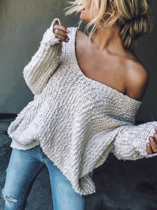Loose White Long Sleeves Sweater Tops WHITE S