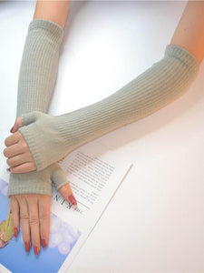 Knitted Half Finger Long Gloves Accessories COFFEE FREE SIZE