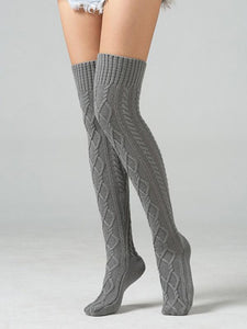 Knitting Over Knee-high 4 Colors Stocking CREAM