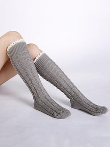Knitting Over Knee-high 5 Colors Stocking DEEP GRAY