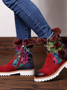 Bohemia Vintage Warm Leather Booties RED 42