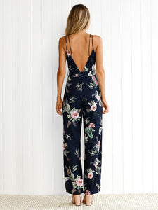 Floral Backless Split-side Wide Leg Jumpsuits Bottoms XL
