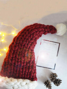 Cute Christmas Knitting Aran Weight Hat RED ADULT