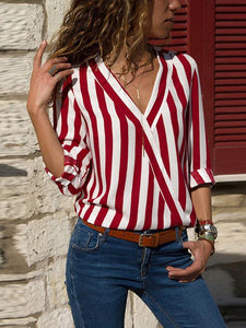 Striped V-neck Loose Blouses\u0026shirts Tops RED S