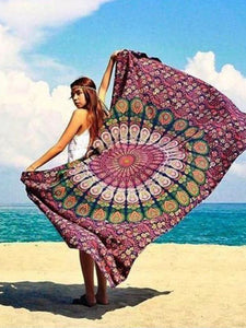 Popular Summer Rectangle Shawl Beach Mat Yoga Mat WINE