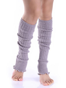 Fashion Knitting Over Knee-high Solid Color Stocking COFFEE FREE SIZE