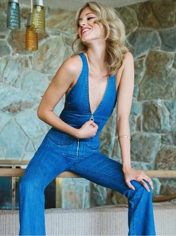 Fashion V-Neck Long Jumpsuits BLUE 38