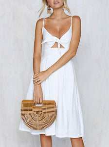 Solid Color Bowknot Midi Dresses WHITE S