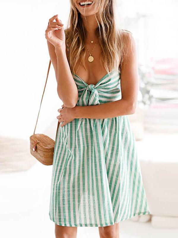 Striped Spaghetti-neck Bowknot Mini Dress GREEN S